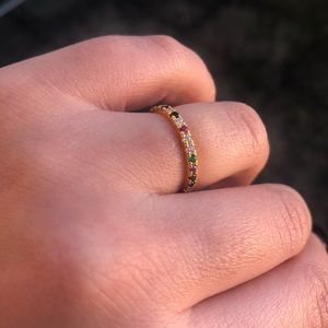 Rainbow band ring birth stones, gold plated